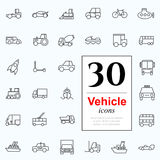 30 vechile icons. Set of transport icons for web or services. 30 design line vechile icons high quality, vector illustration Stock Image