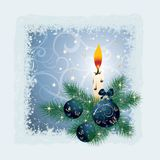 VeChristmas card with a candle. vector Royalty Free Stock Image