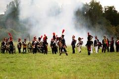 Vecht Russische en Franse legers in 1812 Royalty-vrije Stock Fotografie