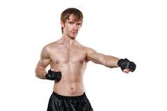 Vechter in gemengde krijgs het vechten handschoenenschop Stock Foto's