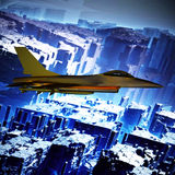 Vechter het straal vliegen tegen een blauwe hemel, 3d illustratie vector illustratie