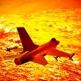Vechter het straal vliegen tegen een blauwe hemel, 3d illustratie royalty-vrije illustratie