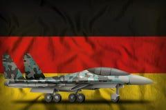 Vechter, interceptor met de wintercamouflage op de de vlagachtergrond van de staat van Duitsland 3D Illustratie stock illustratie