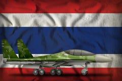 Vechter, interceptor met pixel boscamouflage op de de vlagachtergrond van de staat van Thailand 3D Illustratie stock illustratie