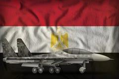 Vechter, interceptor met stadscamouflage op de de vlagachtergrond van de staat van Egypte 3D Illustratie royalty-vrije illustratie