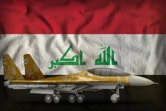 Vechter, interceptor met woestijncamouflage op de de vlagachtergrond van de staat van Irak 3D Illustratie vector illustratie