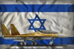 Vechter, interceptor met woestijncamouflage op de de vlagachtergrond van de staat van Israël 3D Illustratie vector illustratie