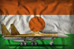 Vechter, interceptor met woestijncamouflage op de de vlagachtergrond van de staat van Niger 3D Illustratie royalty-vrije illustratie