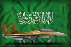 Vechter, interceptor met woestijncamouflage op de de vlagachtergrond van de staat van Saudi-Arabië 3D Illustratie stock illustratie