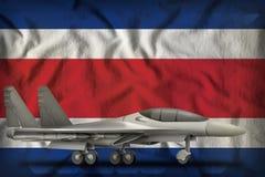 Vechter, interceptor op de Costa Rica-de vlagachtergrond van de staat 3D Illustratie stock illustratie