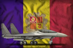 Vechter, interceptor op de de vlagachtergrond van de staat van Andorra 3D Illustratie stock illustratie
