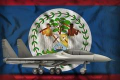 Vechter, interceptor op de de vlagachtergrond van de staat van Belize 3D Illustratie royalty-vrije illustratie