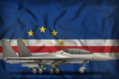 Vechter, interceptor op de de vlagachtergrond van de staat van Cabo Verde 3D Illustratie royalty-vrije illustratie