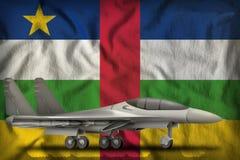 Vechter, interceptor op de de vlagachtergrond van de staat van de Centraalafrikaanse Republiek 3D Illustratie vector illustratie