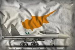 Vechter, interceptor op de de vlagachtergrond van de staat van Cyprus 3D Illustratie vector illustratie