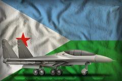 Vechter, interceptor op de de vlagachtergrond van de staat van Djibouti 3D Illustratie royalty-vrije illustratie