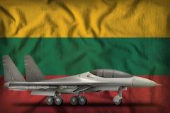 Vechter, interceptor op de de vlagachtergrond van de staat van Litouwen 3D Illustratie vector illustratie