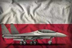 Vechter, interceptor op de de vlagachtergrond van de staat van Polen 3D Illustratie vector illustratie