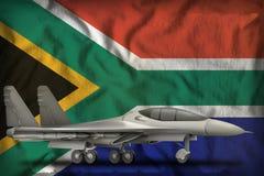 Vechter, interceptor op de de vlagachtergrond van de staat van Zuid-Afrika 3D Illustratie stock illustratie