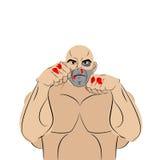 Vechter met een kneuzing en een bloed De geslagen mens verdedigt zich fig. stock illustratie