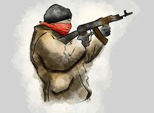 Vechter met geweer, in de handeling van het schieten terrorisme royalty-vrije illustratie