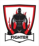 Vechter op brand, klaar te bestrijden stock illustratie