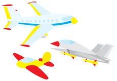 Vechter, zweefvliegtuig en lijnvliegtuig stock illustratie