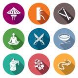 Vechtsporten, Wing Chun Icons Set Vector illustratie Stock Foto's