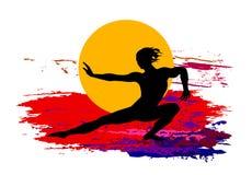 Vechtsportenachtergrond met rode zon Royalty-vrije Stock Afbeeldingen