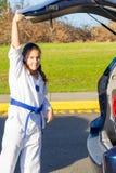 Vechtsportenstudent Gets Ride aan Praktijk Royalty-vrije Stock Afbeelding