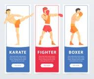 Vechtsportenvechters, karate, vechter, het beeldverhaal vectorelementen van bokserbanners voor website of mobiele app royalty-vrije illustratie
