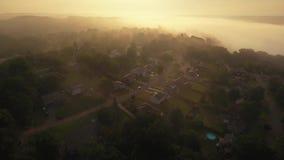 Vecindad aérea de niebla de Pennsylvania de la madrugada almacen de video
