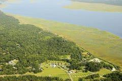 Vecindad costera aérea Fotografía de archivo
