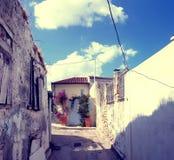 Vecindad de Anafiotika, Atenas, Grecia Foto de archivo libre de regalías