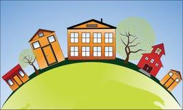 Vecindad estilizada alrededor del globo stock de ilustración