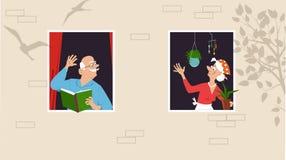 Vecinos de la comunidad del retiro libre illustration