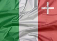 Veck av Neuchatel flaggabakgrund, kantonen av Schweiz förbund royaltyfria foton