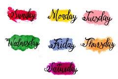 Veckokalligrafidagar av veckan söndag, måndag, tisdag, onsdag, torsdag, fredag, lördag på abstrakt akryl eller olja arkivbild