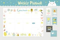 Veckostadsplanerare för gullig kalender stock illustrationer