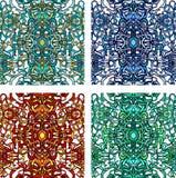 Vecor套五颜六色的抽象无缝的样式 免版税库存照片