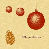 Vecor Christmas card with fir tree decorations and Stock Photography