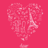 Vecor graphic texture in Paris style. Paris doodle Royalty Free Stock Image