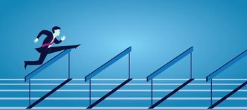 Vecor illustration, affärsmanspring som hoppar över hinderhäckar på spår royaltyfri illustrationer