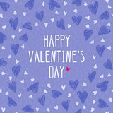 Valentine day card with hand drawing hearts on purple background. Vecor illustration with text `Happy Valentine`s day`. Can be used as print for phone cases Royalty Free Illustration