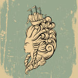 Vecor illustration of woman head with beautiful hairstyle Royalty Free Stock Photography