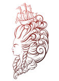Vecor illustration of woman head with beautiful hairstyle Royalty Free Stock Image