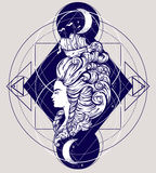 Vecor illustration of woman head with beautiful hairstyle with ship and waves. Stock Images