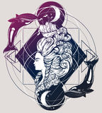 Vecor illustration of woman head with beautiful hairstyle with ship and waves. Royalty Free Stock Photos