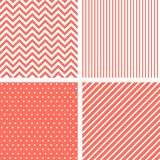 Vecor seamless patterns in living coral color of the year 2019 stock illustration