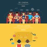Vecot pour le cinéma 3d et les jeux Images libres de droits